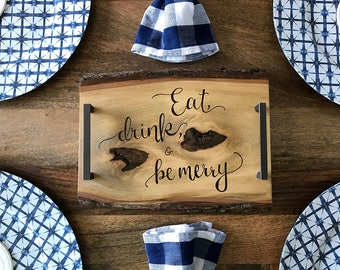 "Wood Burning Tray, Wood Burning Art, Pyrography, ""Eat, drink, & be merry"""