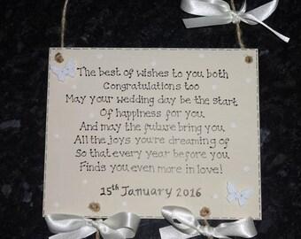 Personalised Wooden Wedding/Civil Partnership Verse Gift/Keepsake