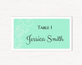 Mint wedding Place cards printable Wedding seating cards Spring wedding name card Romantic wedding Elegant classic wedding seating cards T29