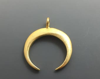Matte Gold Vermeil Crescent Moon or Horn Charm