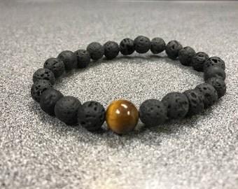 Men's Lava Stone Tiger's Eye Bracelet