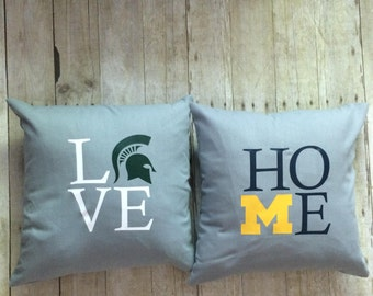 House Divided- Michigan pillow- House divided gift- Michigan and Michigan State- Michigan gift- Michigan rivalry