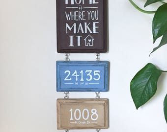 Custom Home Address Wall Hanging - New House Moving Gift