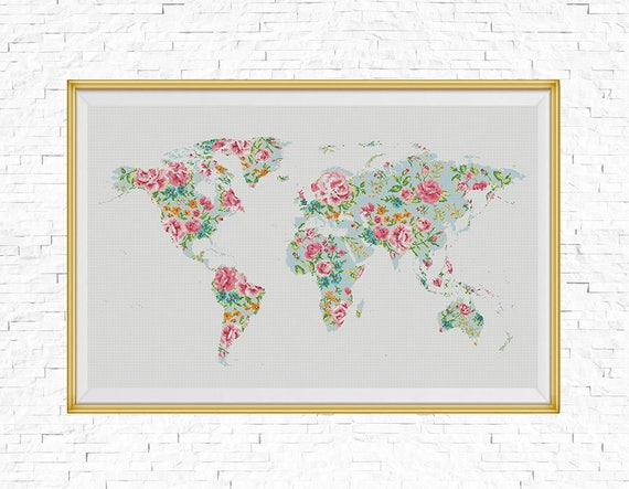 Bogo free floral world map cross stitch pattern world map floral world map cross stitch pattern world map silhouette flowers counted xstitch chart modern decor pdf download 025 17 4 gumiabroncs Choice Image