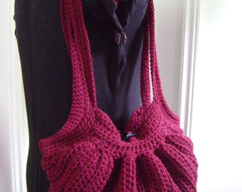 Crochet Fat Bottom Boho Bag, Crochet Handbag, Crochet Purse, Hippie Gypsy Festival Hobo Bag, Burgundy Swag Bag with matching bandana lining