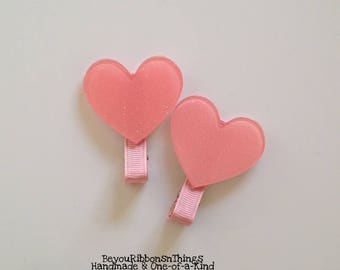 Pink Hearts | Hair Clip for Girls | Toddler Barrette | Baby | Kids Hair Accessories | Grosgrain Ribbon | Flatback | No Slip Grip