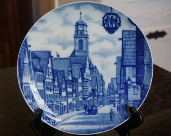 Dinkelsbuhl/Furstenberg West Germany Plate/Limited Edition Plate/ Blue and White Porcelain plate/ German porcelain/ Collectible/ Souvenir