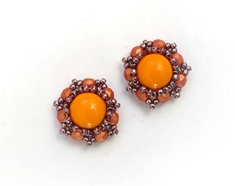 Vintage style orange studs, Tangerine Orange Earrings, Handmade Earrings, Beaded Jewelry, Bridesmaids Gift, Hand Embroidered