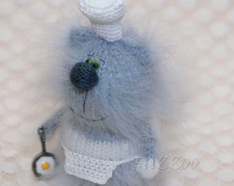 Amigurumi Cat Cook , plush cat, miniature kitty, knit cat, cat tiny doll, amigurumi doll, kitten knit doll, amigurumi toy, cat hand knit toy