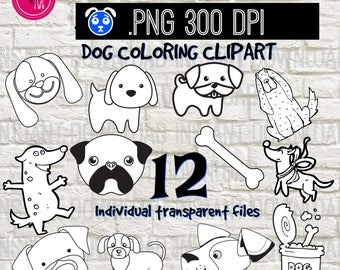 Dog Puppy Coloring Book Clipart Black And