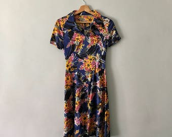 SALE Vintage 1960s Short Sleeved Dress   Summer Dress   Vintage Dress   Floral Dress