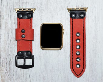 Red Genuine leather apple watch band 38mm / 42mm // apple watch strap accessories - lugs adapter - iwatch band gold - iwatch strap