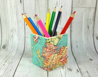 Custom Map Pencil Pot, Choose your favourite location to feature on the pot!!