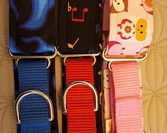 CLEARANCE, Dog collar, Martingale collar, greyhound collar, Cotton collar