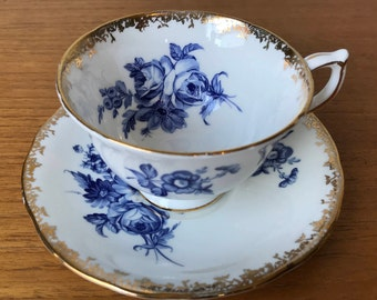 Aynsley Blue and White China Tea Cup and Saucer, Floral Teacup and Saucer, Bone China, Gold Leaf Trim 2516
