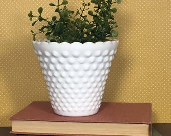 Hobnail Vase - Fenton Milk Glass - Hobnail Planter - Cottage Chic Decor - Gift for Her - Glass Vase - Minimalist Decor - Fenton Hobnail