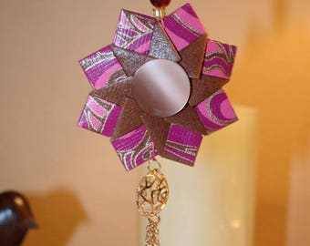 Origami Burgundy Pink Brown And Gold Ring Hanging Ornament