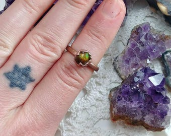4.25 Fire Agate Ring. Copper Electroformed Crystal Jewelry. Gemstone boho gifts for her.