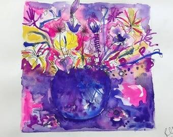 Banana Flower Gouache on Paper