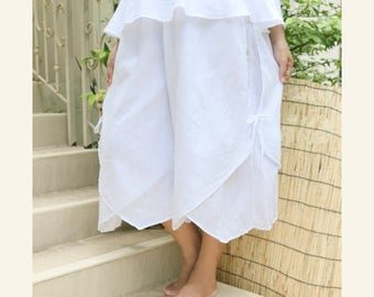 Women Summer Wide Leg Pants, Comfy Casual Double Layer Loose Fitting Cotton Pants with Elastic Waist in White
