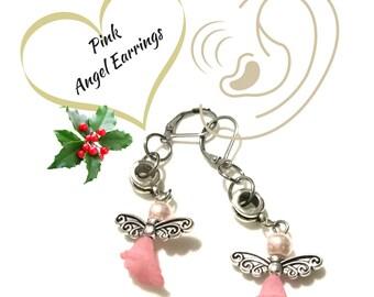 Pink Angel Earrings, Angel Drop Earrings, Antique Silver Angel Earrings, Angel Earrings, Silver Earrings,Unique Style Gift,On Trend Style