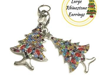 Brilliant Rhinestone Christmas Tree Earrings, Girlfriend Gift, Colourful Party Earrings, Cherished Gift, Friendship Gift,Earrings Silver