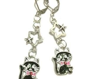 Black Cat Drop Earrings, Enamelled with Sparkling Glitter, Pink Bow Tie, Black Cat Earrings, Cat Lover Gift, Silver Earrings, Gal Pal Gift