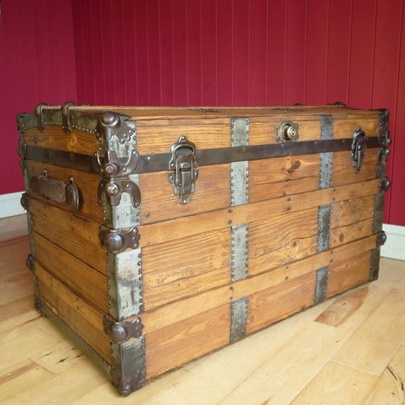 ANTIQUE VICTORIAN TRUNK Wooden Storage Chest Vintage Steamer Trunk Reclaimed Rustic Blanket Box