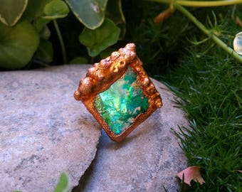 8.25 / Mystical Turquoise Square Copper Electroformed Mermaid Fantasy Ocean Sea Fairy Sky Witchy Iridescent Pastel Sparkle Glitter Elf Ring