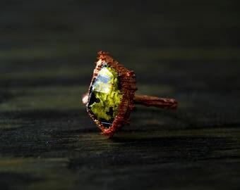 11/ Forest Crystal Lichen Natire Specimen Electroformed Copper Ring