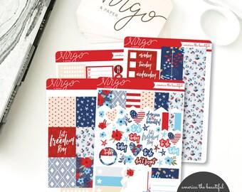 Horizontal Kit - America the Beautiful - Summer, Fourth of July Planner Sticker Kit - Weekly Hand Drawn Sticker Kit - Glossy, Matte ABKH