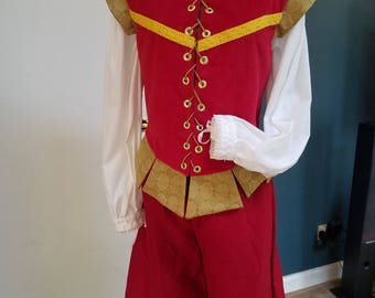Renaissance Gentleman's Outfit (Med) - Doublet & Breeches - Red with Green/Yellow