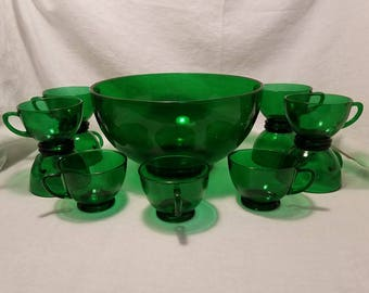 GREEN PUNCH BOWL Cups Glass Serving Emerald Forest Anchor Hocking Antique Vintage Retro