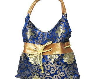 Stylish Handmade Blue Silk Brocade Hobo Satchel Handbag