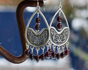 Red Garnet Stone Teardrop Earrings ~ Ornate Chandelier Earrings ~ Statement Jewelry ~ January Birthstone ~ Gala Evening Wear ~ Bohemian Red