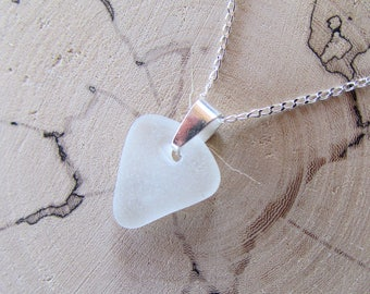 White Sea Glass Pendant with Sterling Silver Necklace, Triangle Pendant, Made of Natural Sea Glass and 925 Sterling Silver Chain