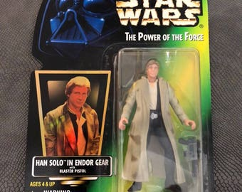 Star Wars The Power of the Force Han Solo Endor Gear Green Card 1996