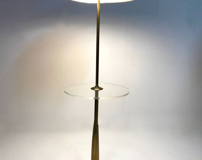Mid Century Modern Brass & Acrylic Stiffel Floor Lamp Tommy Parzinger Rocket Style