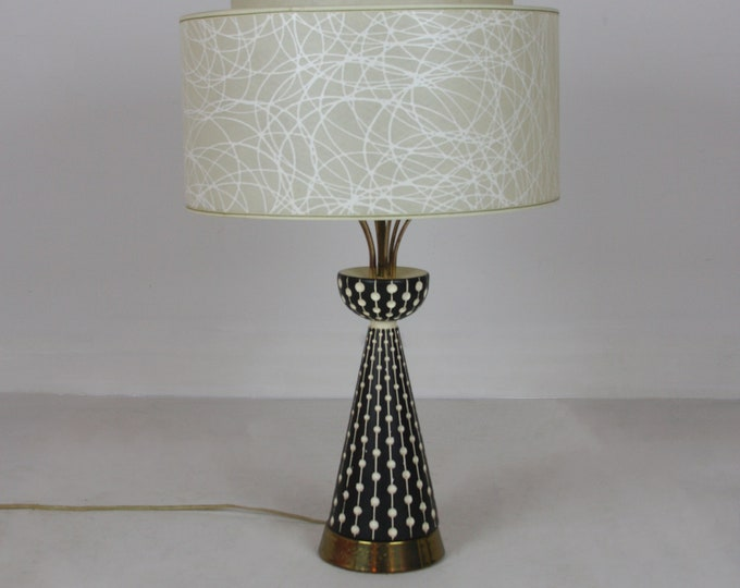 Stunning ATOMIC FAIP LAMP Black & White Signed with Original Shade