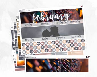 Love Story February Monthly Kit | Matte Glossy Planner Stickers