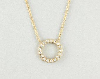 Circle Necklace, Gold Circle Necklace, Gold Geometric Necklace, Karma Necklace, Gold Necklace, Dainty Circle Necklace, 14K Necklace, GN0326