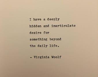 Virginia Woolf love quote hand typed on antique typewriter gift girlfriend boyfriend husband wife wedding birthday valentines scrapbooking