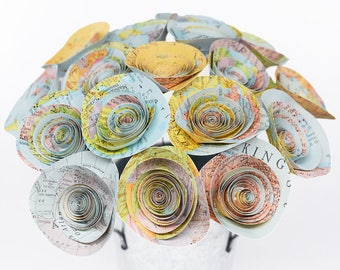 Map Paper Flowers 18 Atlas Flowers, Geography Teacher Gift, Travel Lover Gift, History Teacher Gift, Travel Theme Wedding Travel Theme Party