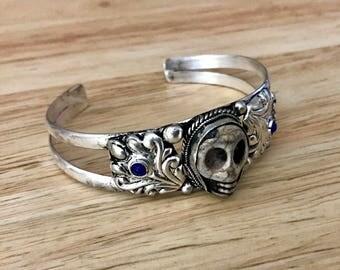 Ethnic Lapis Lazuli Skull Face Tibetan/ Nepali Cuff Bracelet