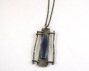 kyanite silver necklace, kyanite silver pendant, oxidized silver