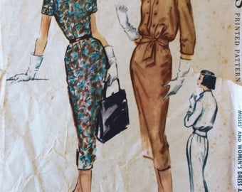 Vintage 1950s Dress and Jacket Sewing Pattern - McCall's 4392 - Bust 36