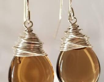 Dark Topaz Teardrop Earrings, Brown Briolette, Dangle Earring