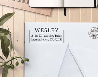 Return Address Stamp, Custom Rubber Stamp, Self Inking Stamp, Custom Return Address Stamp, Self Ink Return Address Stamp --si-4929-Wesley