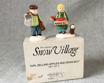 Vintage Department 56 Snow Village, Girl Selling Apples and Newsboy 1988 Retired