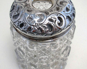 Heavy Antique (1909) Solid Sterling Silver Lidded & Hobnail GLASS Hallmarked Hair Tidy Dressing Table Toiletries Jar/Pot. Early 20th-century